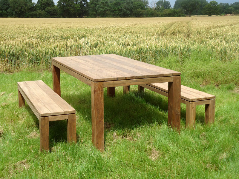 Product photograph showing Bali Reclaimed Teak Bench Set Pre Order