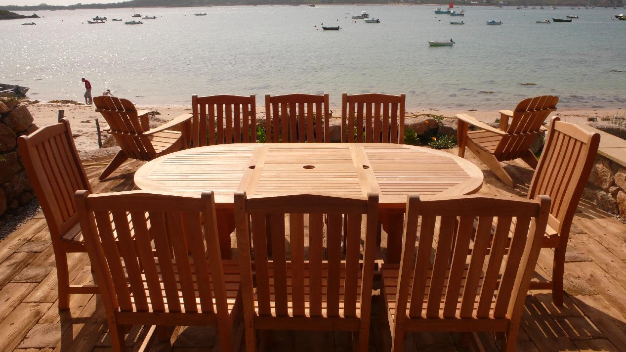 A view to die for with this Teak Furniture Set from The Garden Furniture Centre at Tresco Abbey Gardens.