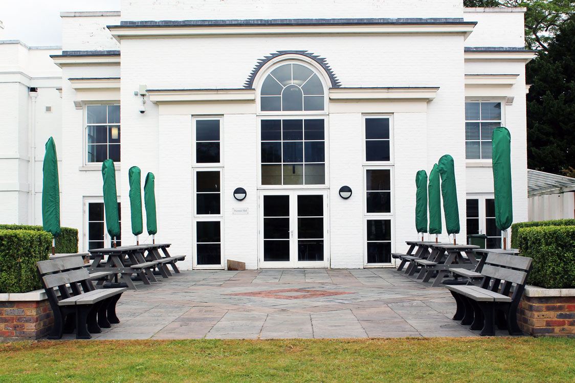 Recycled Plastic benches on site for Royal Ballet School