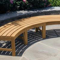 Curved Backless Teak Benches
