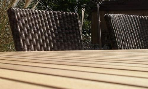 A stunning finish on the Adonis Teak Table and 8 Rattan Chairs