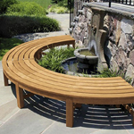 Curved Benches fitted together round a water feature