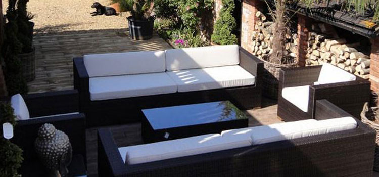 Outdoor Cushions on the Arizona with Viro Prussian Bronze Weave