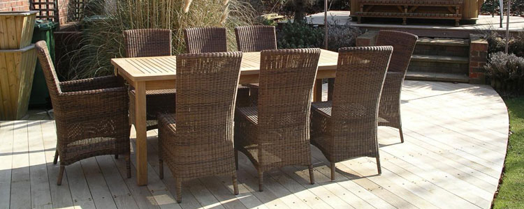 Avery Rattan and Teak Dining Set