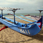 A bright coloured Bali Canoe