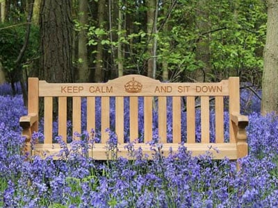 Keep Calm and Sit Down engraved bench