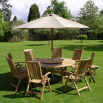Chunky Teak Dining Set with Parasol