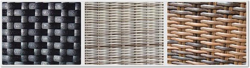 A strip of images showing three different types of outdoor rattan weave