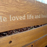Engraved Rustic Oak Bench