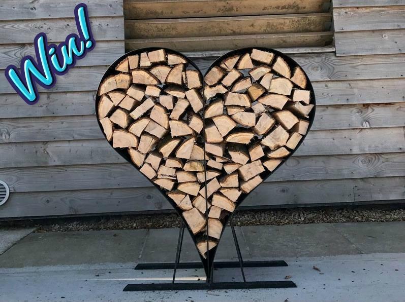 win a love heart log rack