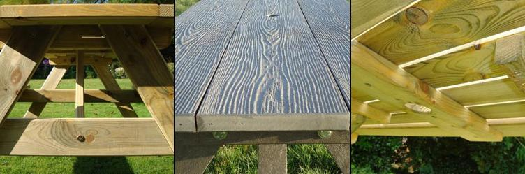 Attention to detail on A Framed Picnic Tables