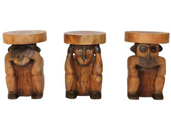 See Hear and Speak No Evil Wooden Ornaments