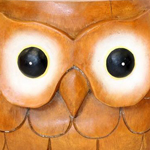 Large painted eyes on the Owl Stool