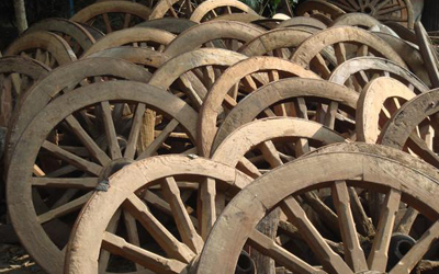 Cart Wheel Bench Reclaimed Teak ox Cart Wheels