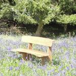 Romance Teak Bench in bluebells wood