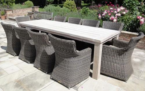 Massive Recycled Teak Table and 10 Chairs with the Seville Set