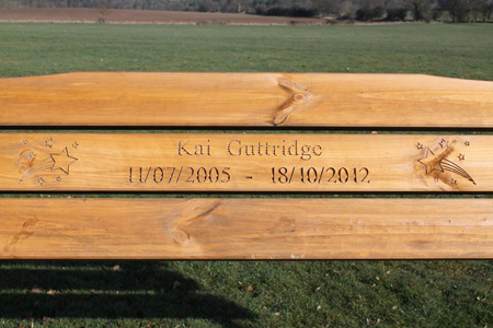 Rustic Oak Benches look great with inscription