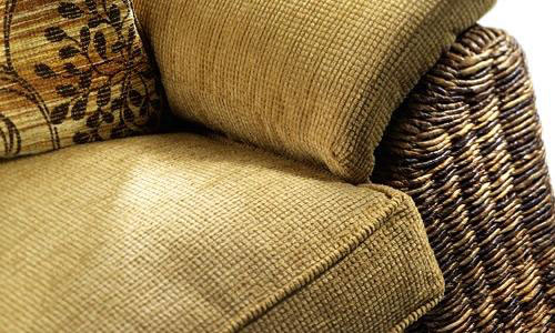 Lovely soft cushions with hand-woven rattan weave